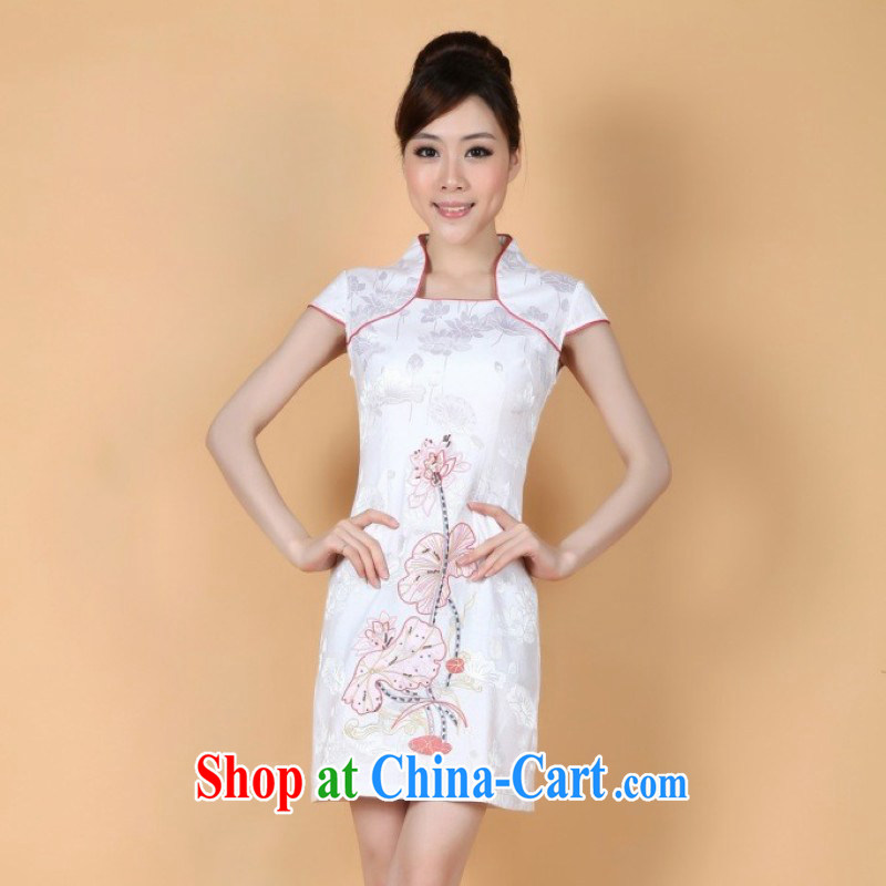 The Jing contributed new paragraph in summer long, for China wind short-sleeved hand-painted cheongsam Chinese show clothing - 1 white XL (115 - 120 ) jack