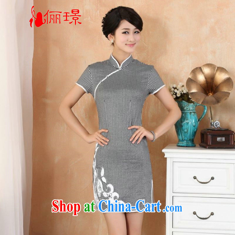 The Jing contributed new summer, manually for the long and short-sleeved Chinese qipao black L _110 - 115 _ jack