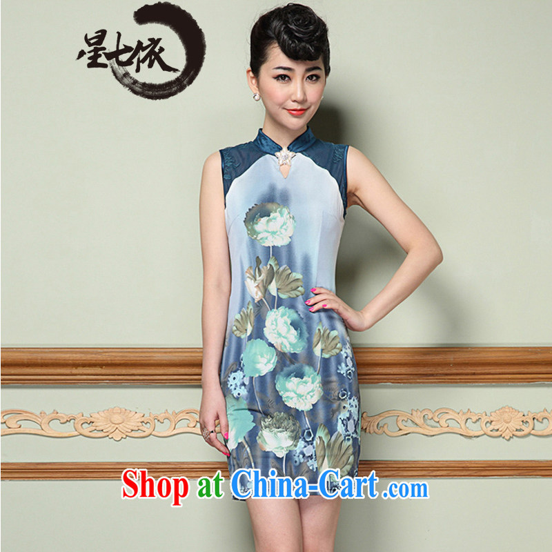 7 star hotel in accordance with 2014 summer new female stamp elegant antique beauty vest dresses dresses picture color 3XL