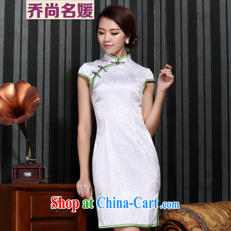 Improved cheongsam dress summer Tang Women's clothes everyday white Chinese C 14 - 6008 white L (2 feet 2 back)