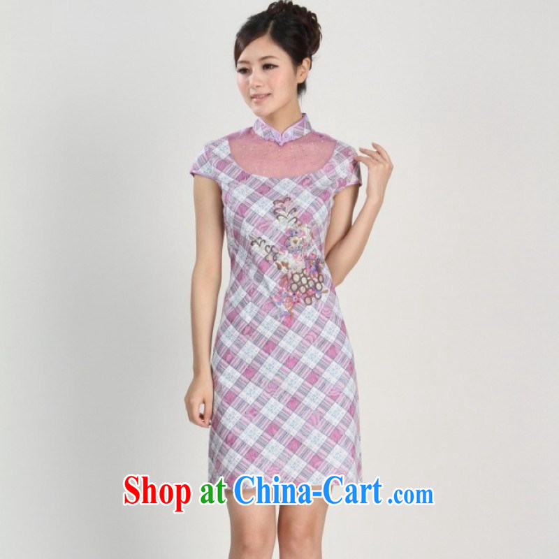 The Jing contributed new spring and summer, for lattice lace short-sleeve Ethnic Wind improved cheongsam Tang - 2 pink 2 XL _recommendations 120 - 130 jack_