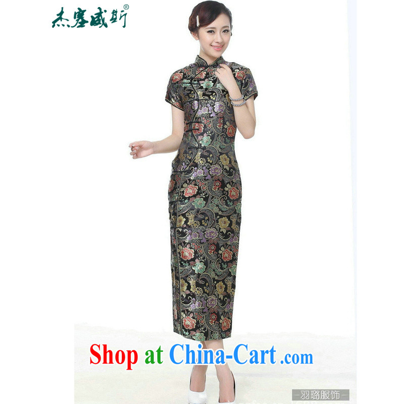 Jessup, new retro Ethnic Wind improved 10 tablets for short-sleeved, for long dresses cheongsam Chinese TJ 0024 _black XXXL