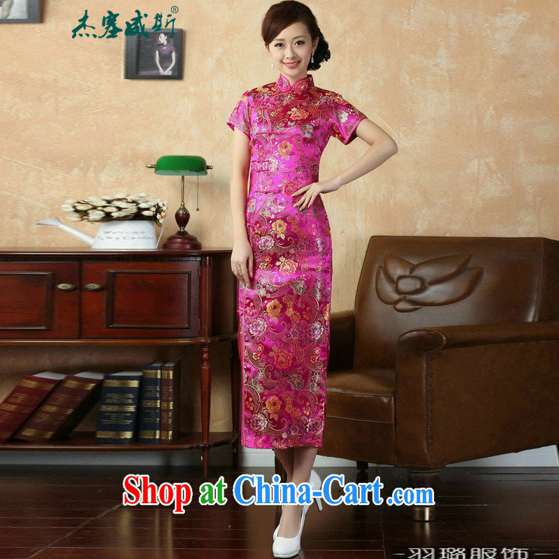 Jessup, new retro Ethnic Wind improved 10 tablets for short-sleeved, for long dresses cheongsam Chinese TJ 0025 _ of red XXXL