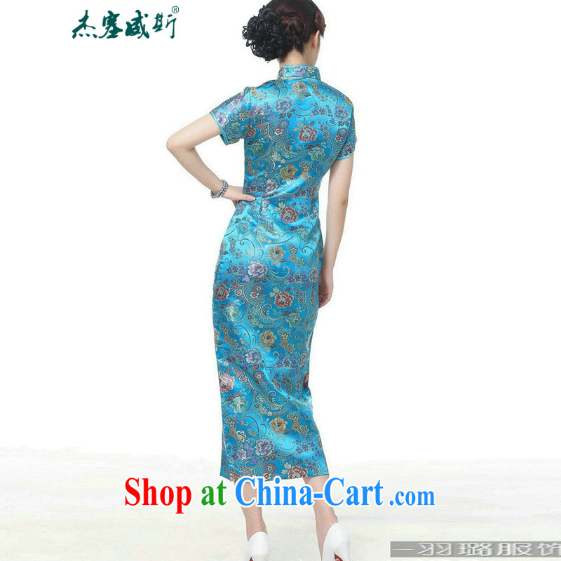 Jessup, new, Retro Ethnic Wind improved 10 tablets for short-sleeved, for long dresses cheongsam Chinese TJ 0026 #Lake blue XXXL, Jessup, and shopping on the Internet