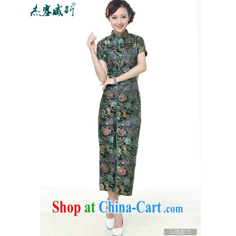 Jessup, new retro Ethnic Wind improved 10 tablets for short-sleeved, for long dresses cheongsam Chinese TJ 0027 _green XXXL