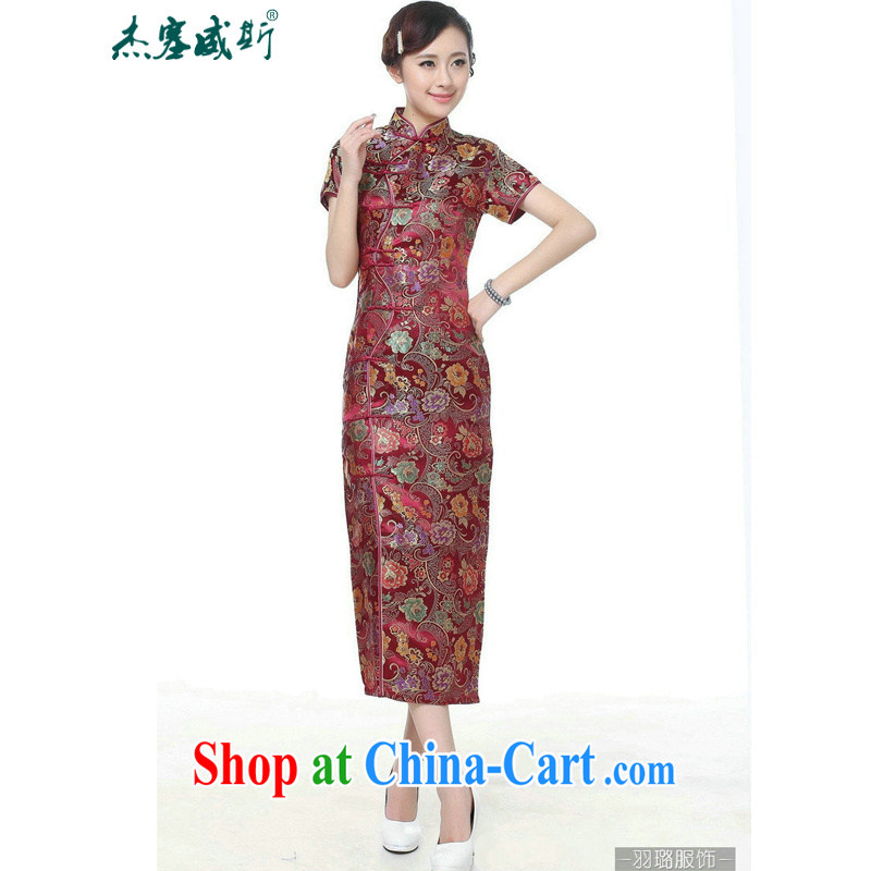 Jessup, new retro Ethnic Wind improved 10 tablets for short-sleeved, for long dresses cheongsam Chinese TJ 0028 _wine red XXXL