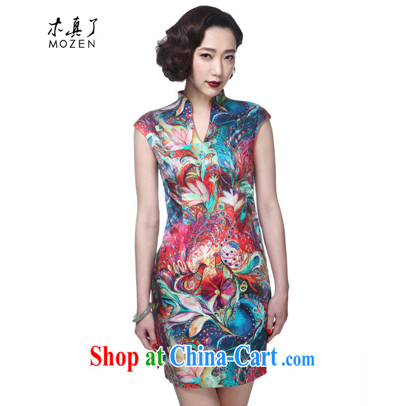 Wood is really the 2015 summer new Chinese style Silk Cheongsam dress cheongsam dress girl package mail 42,741 12 deep yellow XXL (A)