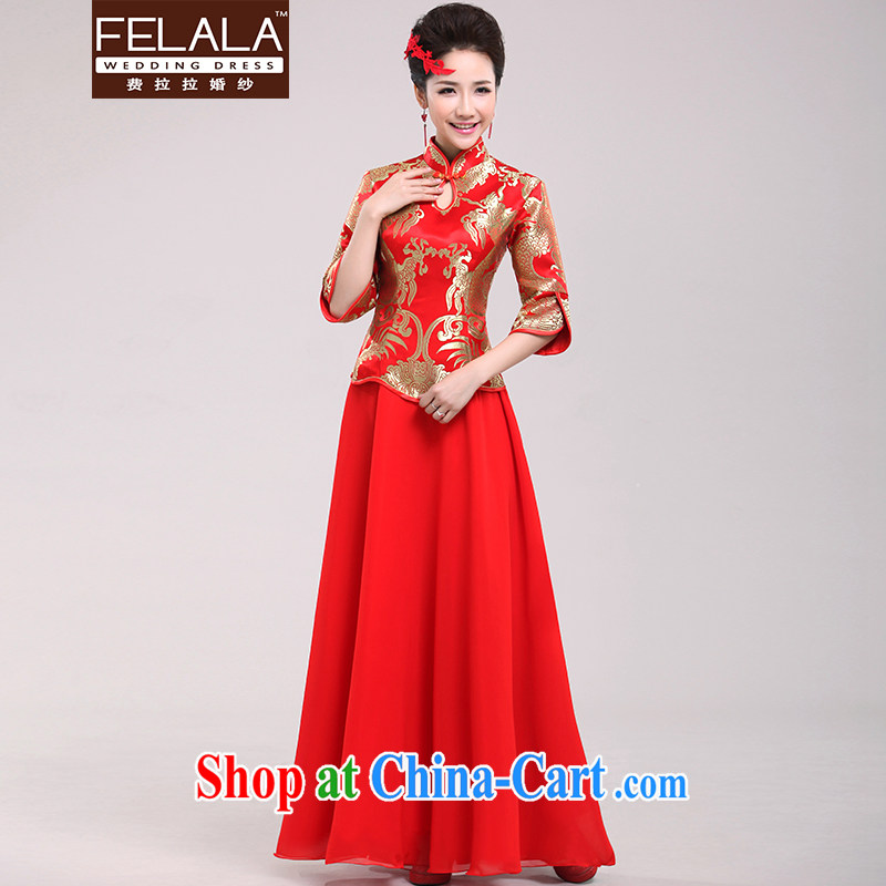 Ferrara winter red bridal toast dress Chinese Enhancement of Phoenix cheongsam long beauty dress M Suzhou shipping