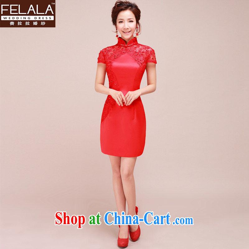 Ferrara New Red dresses wedding dresses wedding dresses bridal short lace bows clothing qipao XL Suzhou shipping