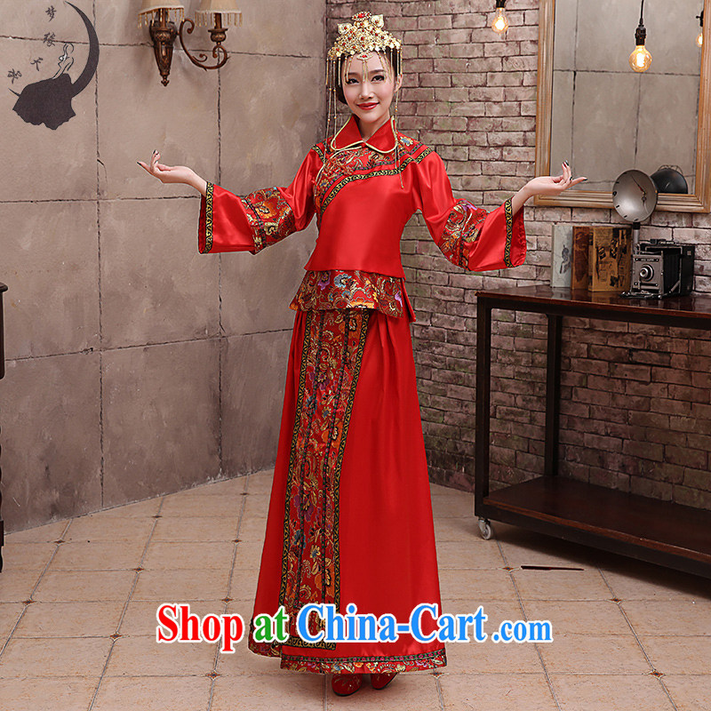 Dream of the day, Sau Wo service 2015 bridal dresses of Phoenix bows Chinese improved cheongsam classical Q 826 red tailored