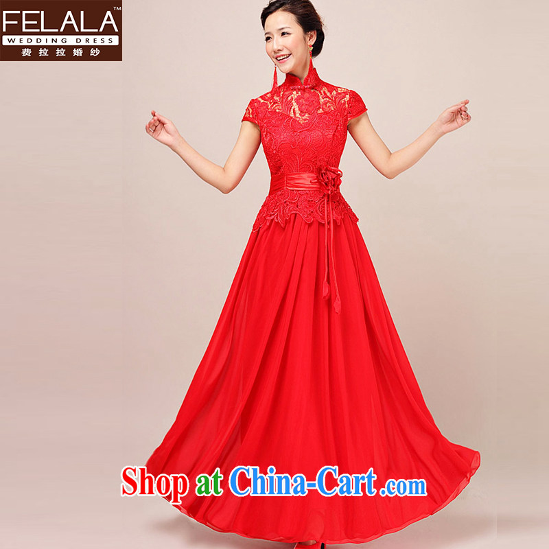Ferrara 2015 New Red wedding bridal dresses dress lace long Chinese dress uniform toast spring and winter S Suzhou shipping