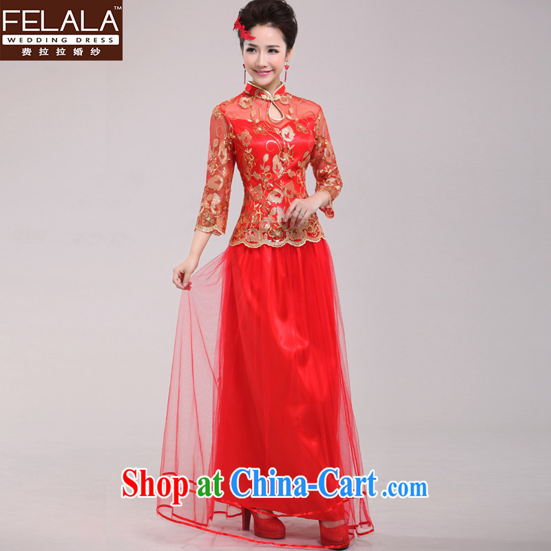 Ferrara spring bridal cheongsam dress red improved retro wedding toast wedding service long-sleeved bridal replacing M Suzhou shipping