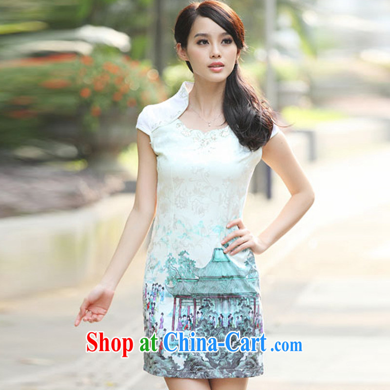 Support the payment card in accordance with our 2014 new summer fashion beauty improved national wind outfit retro dresses dresses short dresses Indigo color XL