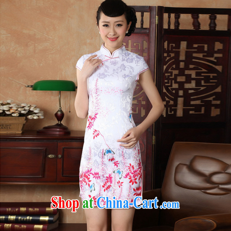 Jessup, new retro improved embroidery, for manual for short-sleeved qipao Chinese Chinese qipao dresses TD 0222 _white saffron XXL