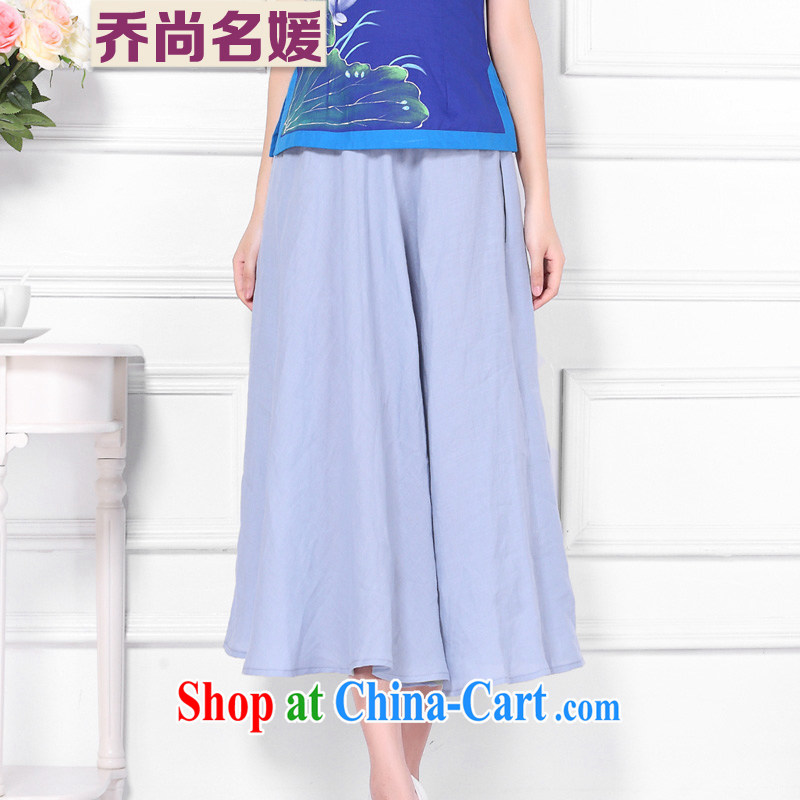 National wind cotton the skirt body linen skirt summer sum female large skirt BSQ 001 blue are code
