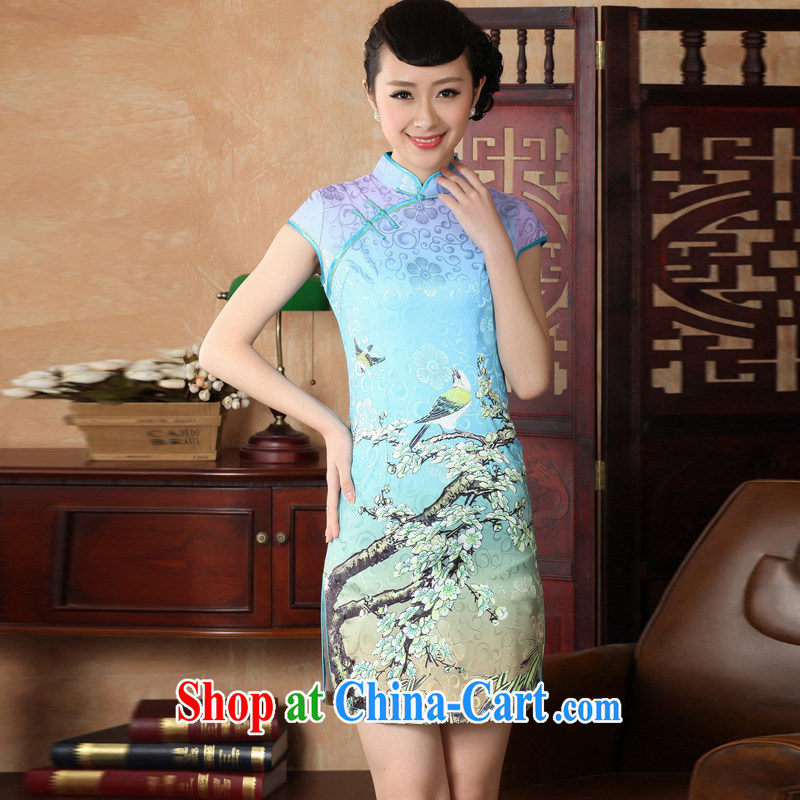 Jessup, new, improved national and elegant, for manual for short-sleeved Chinese qipao Chinese qipao dresses D 0225 _Lake blue XXL