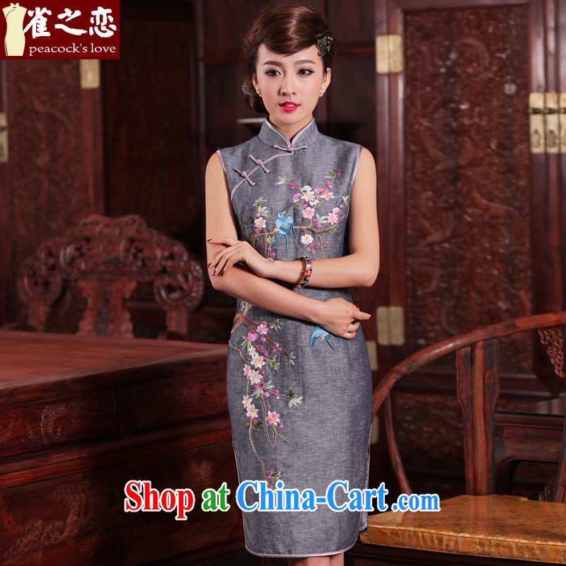 Birds of the land reflects our country to 2015 spring new 100_ linen hand embroidered cheongsam QD 467 light gray XL
