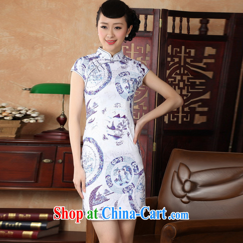 Jessup, new retro style improved, for manually for cultivating short-sleeved qipao Chinese female cheongsam dress TD 0226 _white XXL