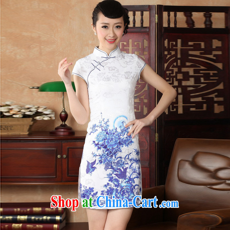 Jessup, new retro style, for manual for short-sleeved cultivating cheongsam Chinese female cheongsam dress TD 0228 _Blue on white flower XXL