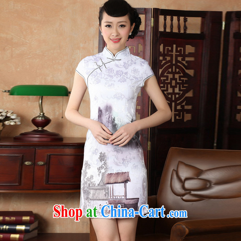 Jessup, new retro improved, for manually for cultivating short-sleeved qipao Chinese female cheongsam dress female TD 0227 _white XXL