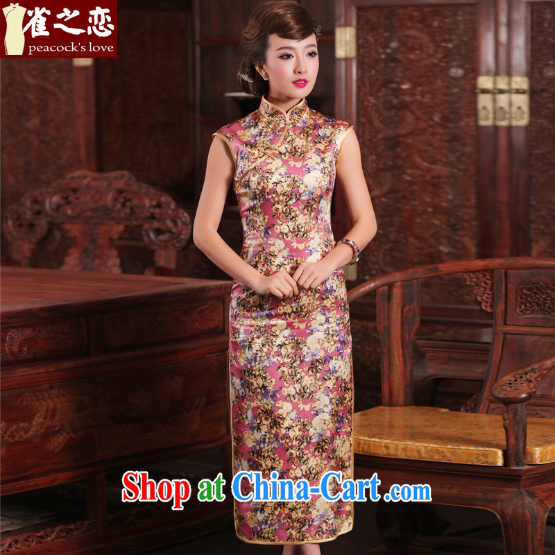 Birds love to ask Chamber Fang 2015 spring new retro long high the forklift truck is Silk Cheongsam QD 463 fancy XXL