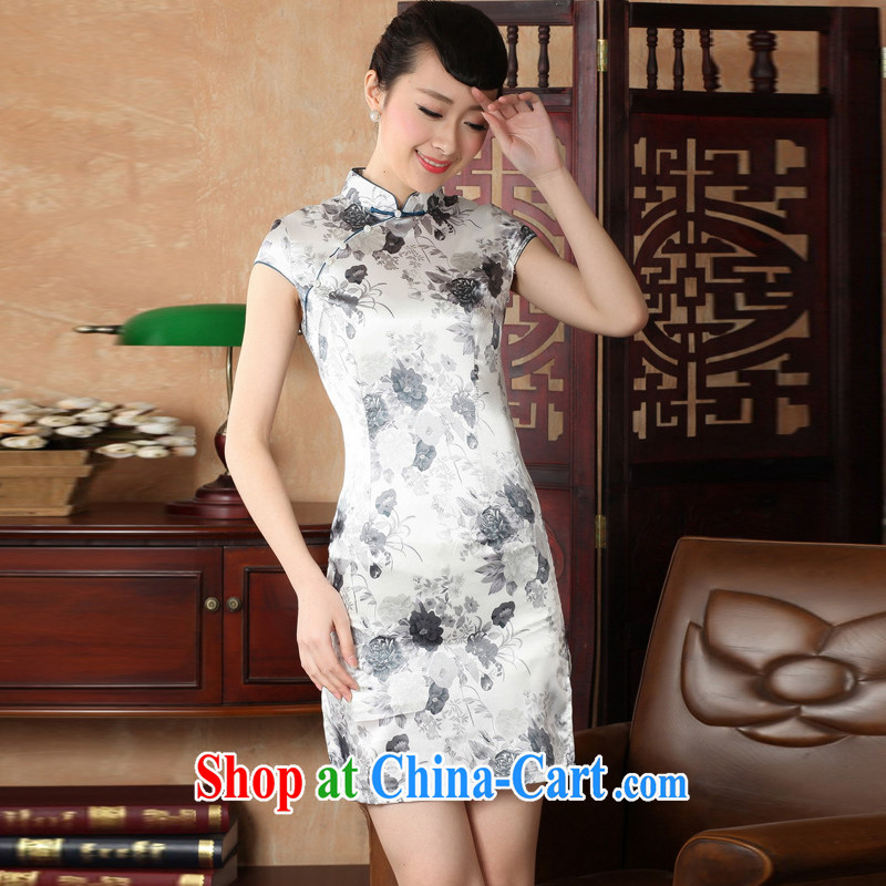 Jessup, new retro improved cultivation, for manual for short-sleeved qipao Chinese female qipao TJ 5139 _gray XXL