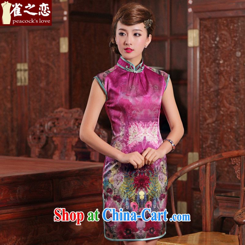 One of such land and blandishments, Lau, Colombia 2015 spring new cheongsam dress stylish and refined luxury sauna silk short Silk Dresses purple XXL