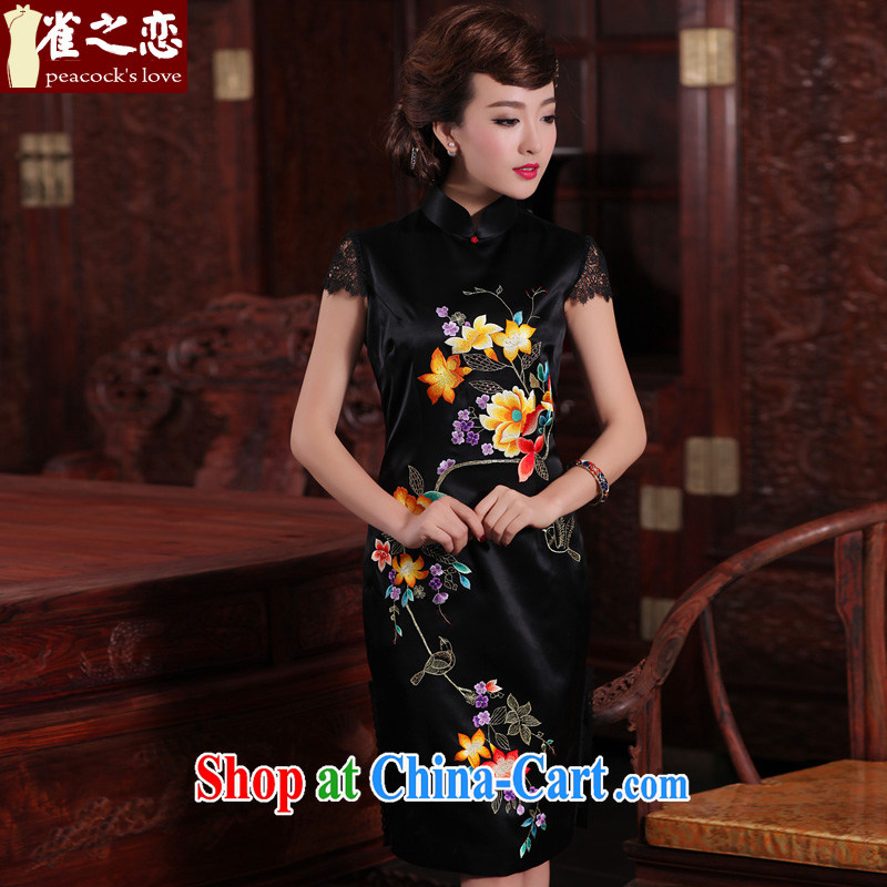 Bird lovers of nomination, aromatic 2015 spring new traditional hand made embroidered heavy Silk Cheongsam QD 465 Black - pre-sale 15 days out XL
