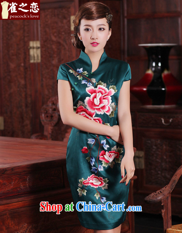 Birds love, deplored on the 2015 spring new traditional hand embroidered 100_ heavy Silk Cheongsam QD 461 green XL