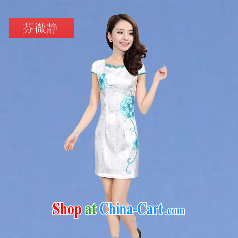 2015 new dress cheongsam dress summer improved Stylish retro beauty everyday dresses dresses short dresses, if white XXL