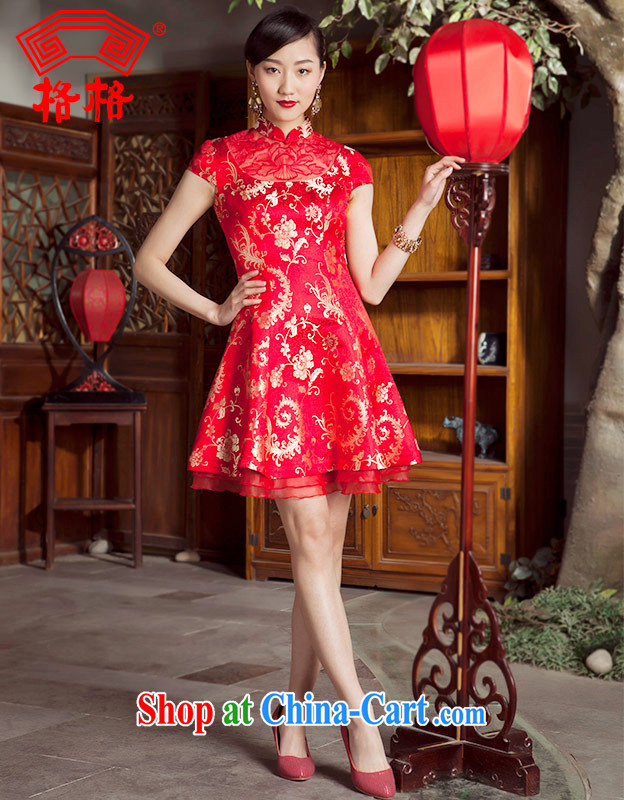 Huan Zhu Ge Ge New Products Listing stylish improved cheongsam dress short dress cheongsam dress red L