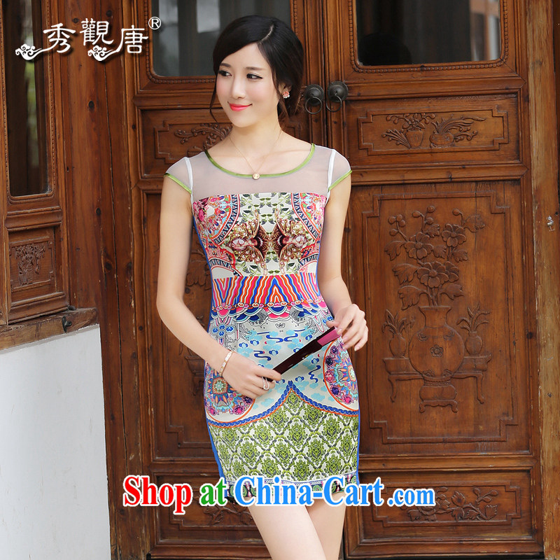The CYD HO Kwun Tong' summer ice 2014 summer new sexy dresses ethnic wind antique stamp female QD 4418 fancy XXL