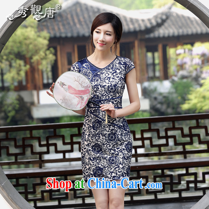 The CYD HO Kwun Tong' YUEN Ching summer new daily outfit summer 2015 Chinese improved blue cheongsam dress QD 4427 dark blue L