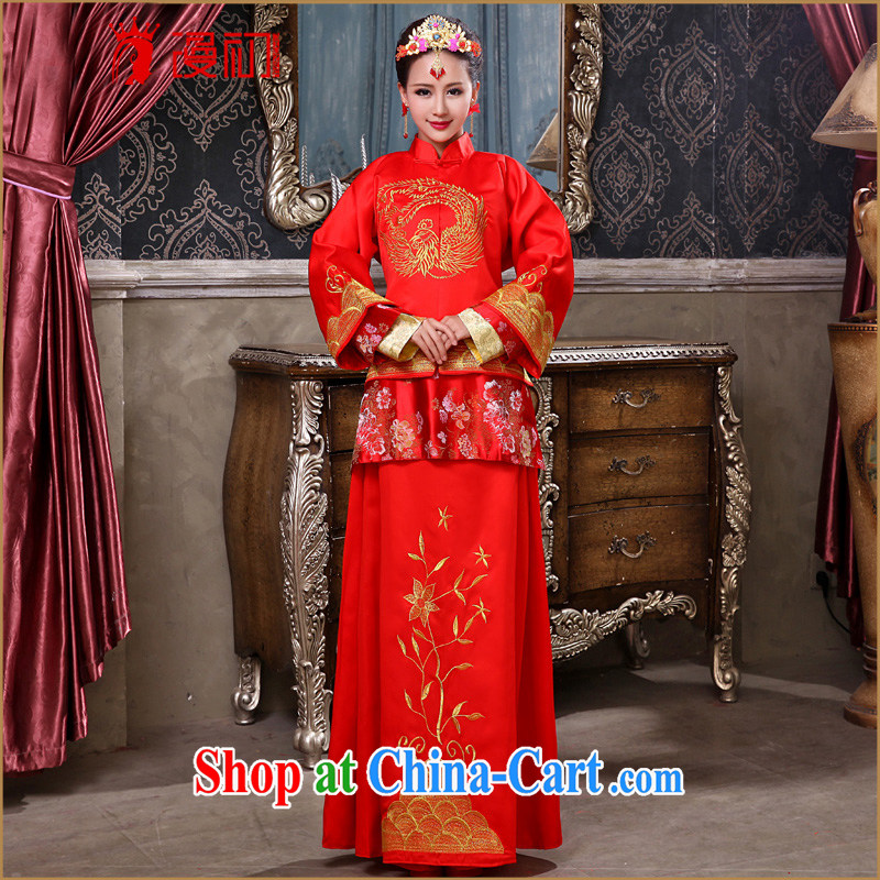 Early definition 2015 new Chinese Antique toast serving female Red-su wo service marriages long-sleeved qipao married Yi red are code