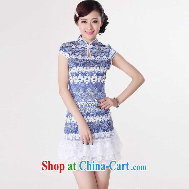Jessup, new, improved lady, for manual for short sleeves cheongsam dress female Chinese qipao Chinese qipao TD 0216 #blue XXL