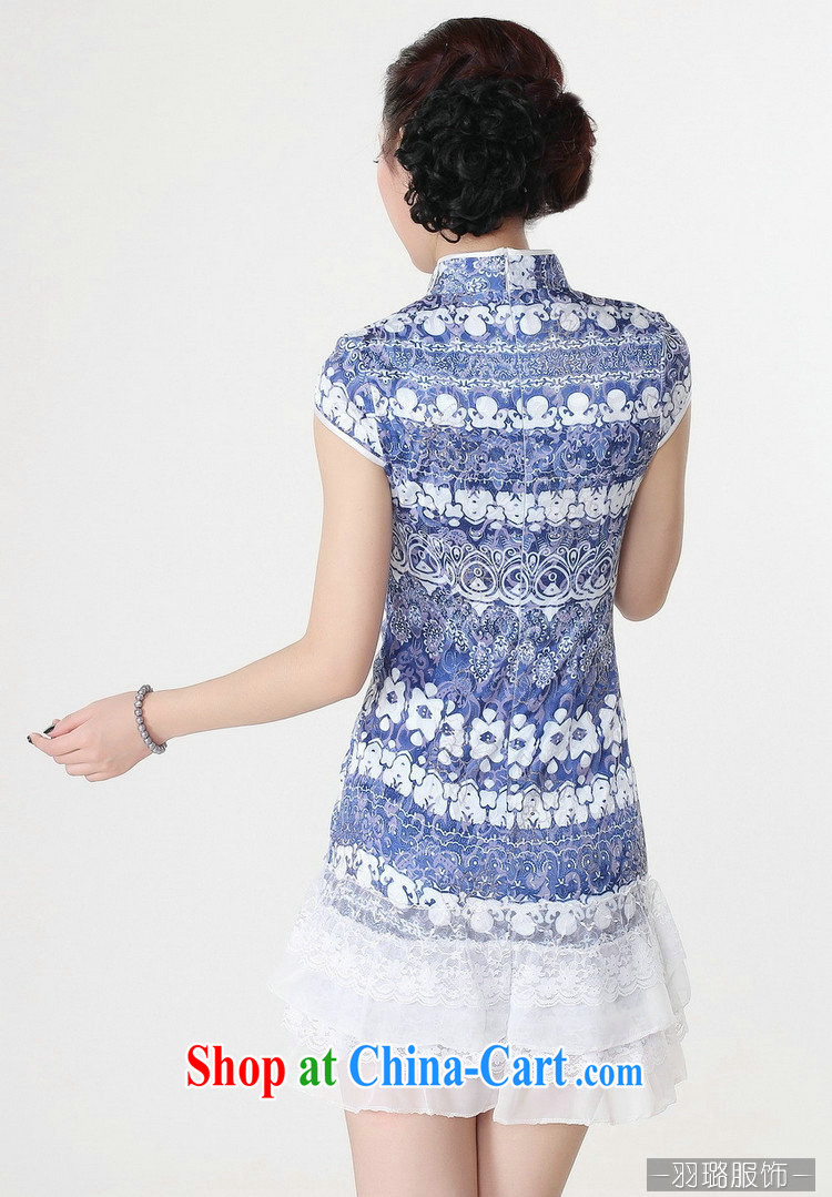 Jessup, new, improved lady, for manual for short sleeves cheongsam dress female Chinese qipao Chinese qipao TD 0216 #blue XXL pictures, price, brand platters! Elections are good character, the national distribution, so why buy now enjoy more preferential! Health