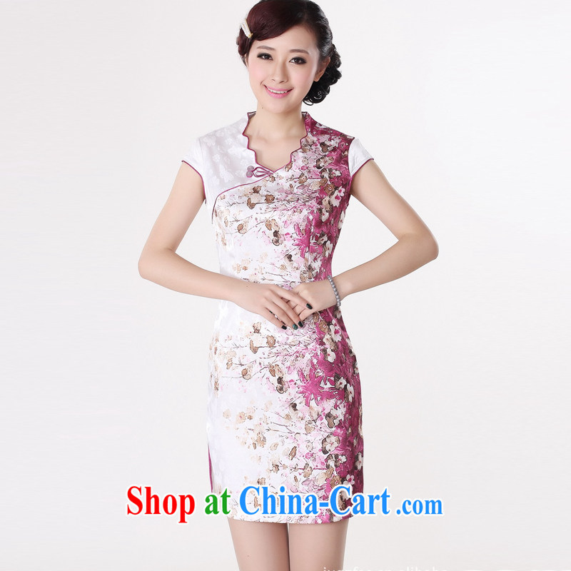 Jessup, new stylish and improved manual tie V collar short sleeves cheongsam dress Chinese cheongsam Chinese qipao TD _0219 white safflower XXL