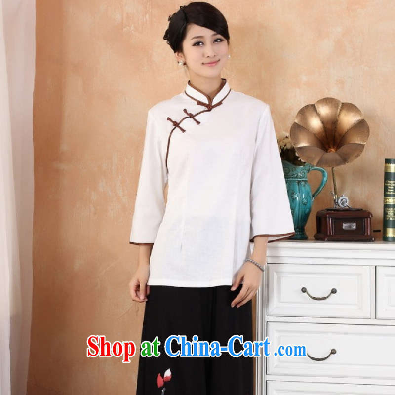 Traditional national costumes arts van small fresh cotton Ma maximum code Chinese female improved cheongsam dress shirt, served 9 cuff Chinese, summer photo building photography clothing women's clothing white S