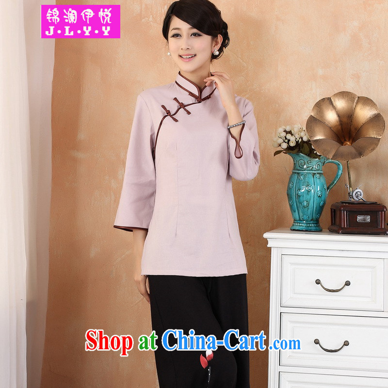 kam world the Hyatt national costumes, literature and art. The fresh large code Chinese female improved cheongsam dress shirt, served 9 cuff Chinese summer photo building photography clothing women's clothing pink 3XL