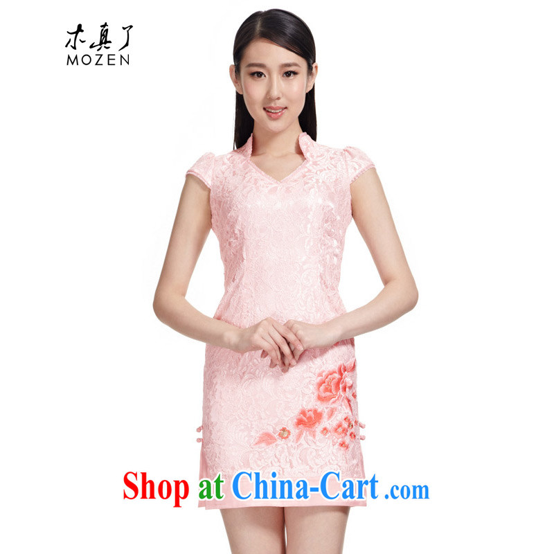 Wood is really a summer 2015 new female Chinese Embroidery elegant dress sleeveless short cheongsam package mail 21,951 19 light pink XL