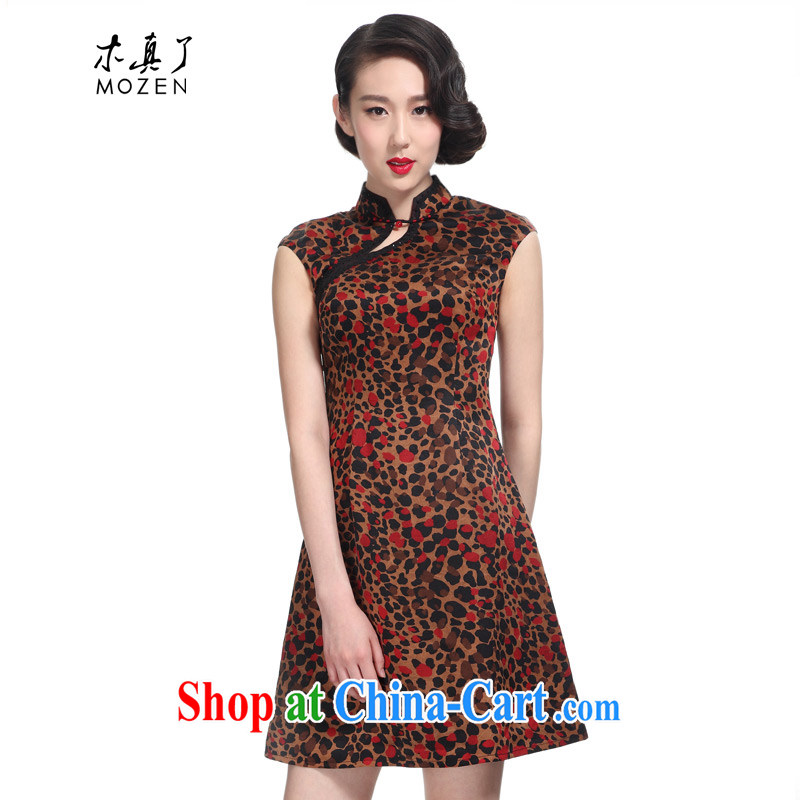 Wood is really a summer 2015 new Chinese elegant Leopard Silk Cheongsam dress 11,585 08 coffee the red point XXL