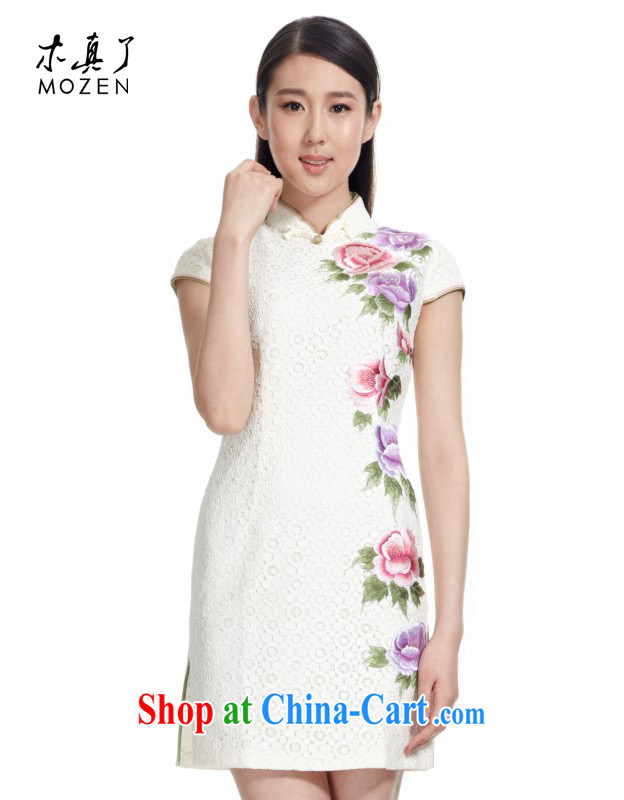Wood is really the Chinese 2015 new Chinese lace improved cheongsam short beauty dresses female package mail 21,811 02 pure white XXL
