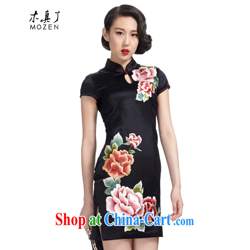 Wood is really the Chinese Spring 2015 the New Silk Dresses beauty Chinese improved cheongsam dress dresses 01 22,110 black XXL B _ _