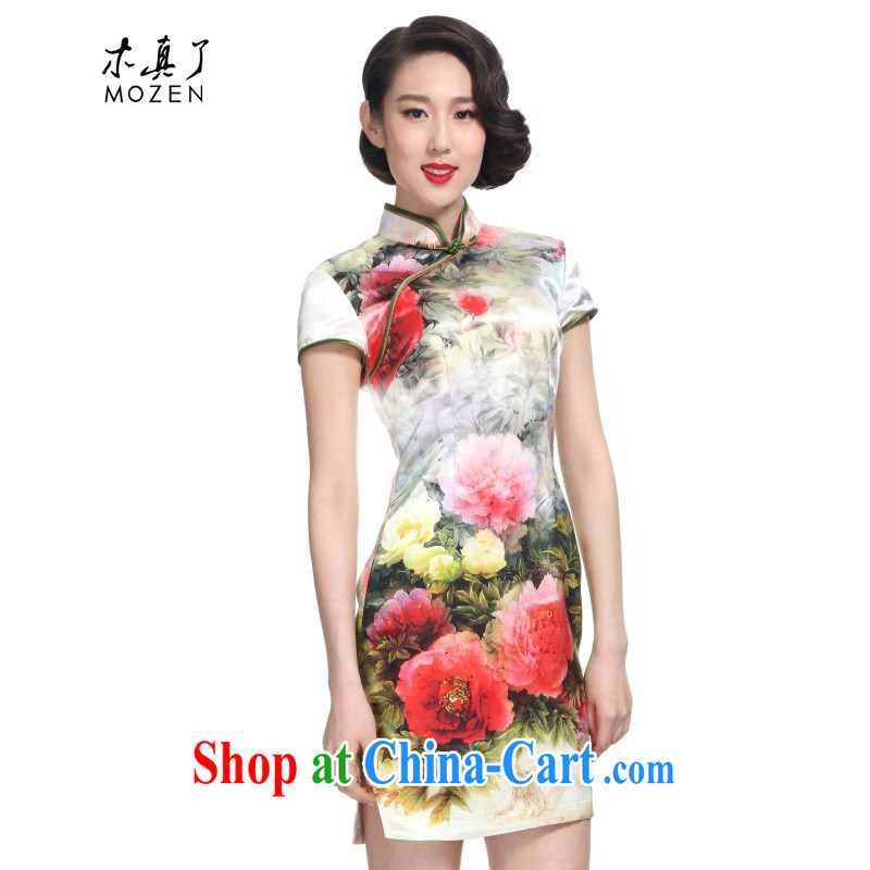 Wood is really the 2015 spring and summer China wind silk Peony stamp short cheongsam girl 11,438 03 cream XXXL