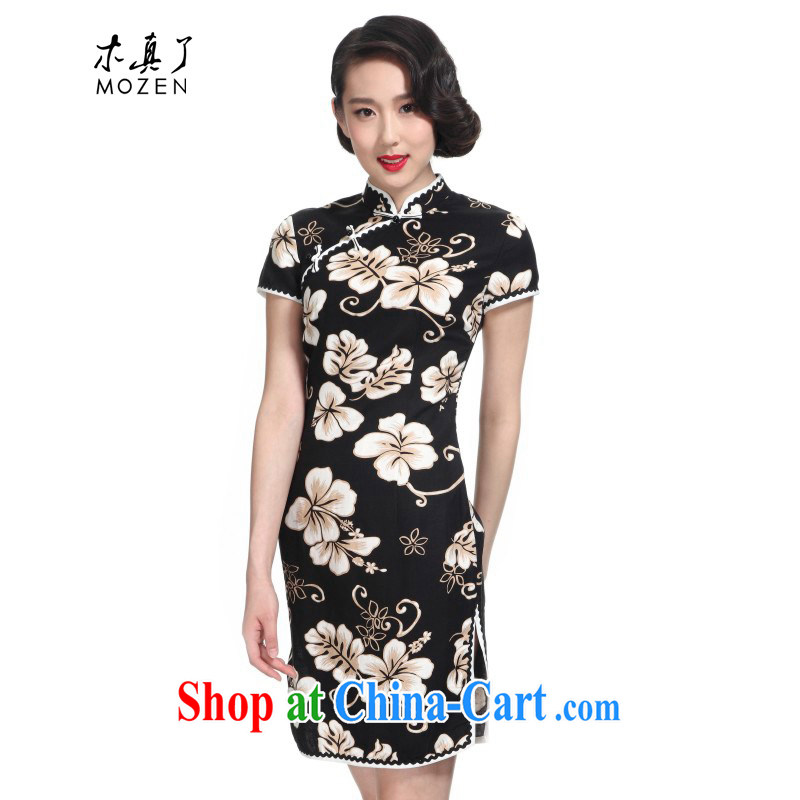 Wood is really the 2015 new Chinese floral improved qipao cotton half sleeve winter dresses 11,573 - 1 white-on-black flower XXL