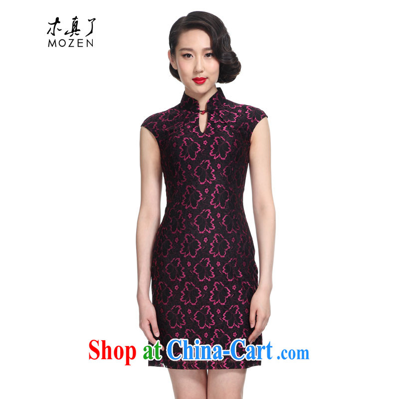 Wood is really the 2015 spring and summer new stylish beauty lace short cheongsam Chinese dresses girl 42,770 01 black L