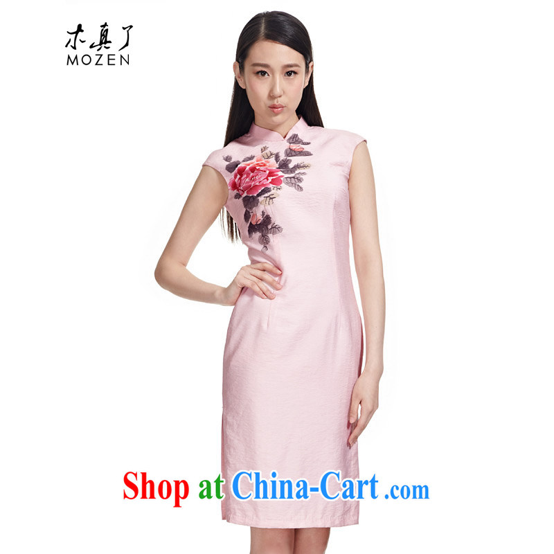 Wood is really a qipao 2015 Chinese Tang is new, the collar hand-painted Peony wood drill short, cultivating cheongsam dress fashion dresses female 90,752 19 pink M