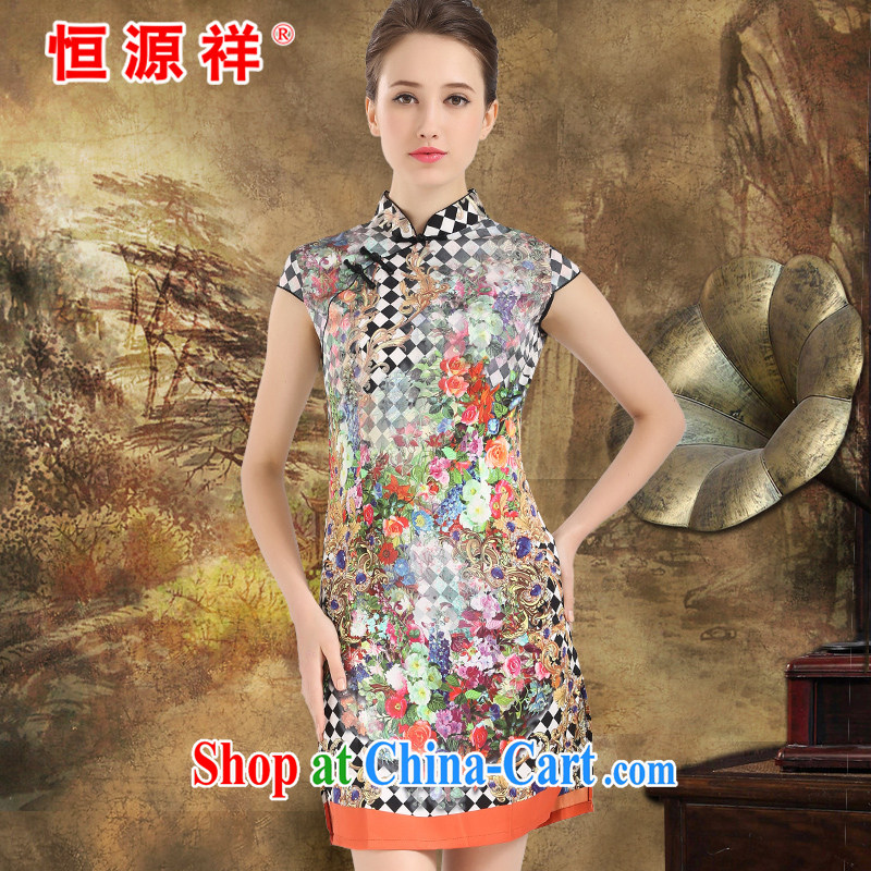 Summer clearance Hang Seng Yuen Cheung-counters 2014 spring and summer women cheongsam Silk Dresses sauna silk high-end big Silk Cheongsam girls orange XXL