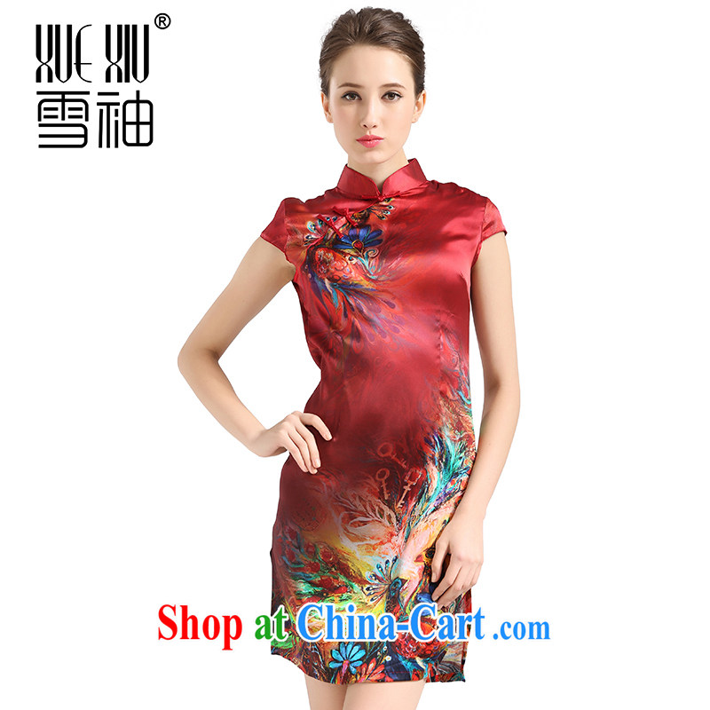 Summer clearance summer clearance snow cuff 2014 spring and summer New Women, for silk cheongsam sauna silk Big Women silk Silk Dresses red XXL