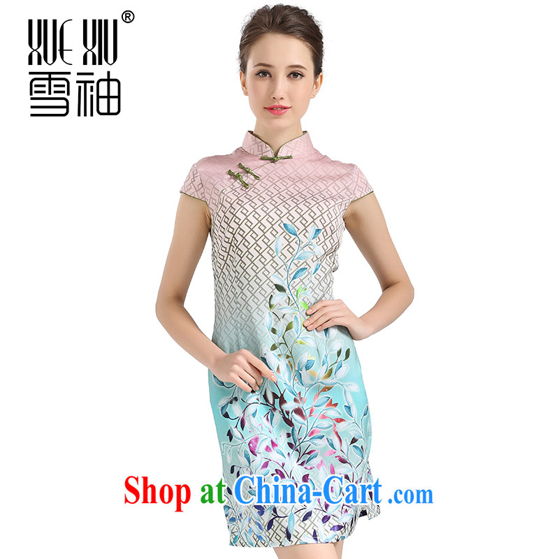 Summer clearance summer clearance snow cuff spring and summer 2014 new Jurchen Silk Cheongsam dress big sauna silk stamp silk girls skirt light blue XL